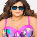 This is Ashley Stewart's power mesh swim top